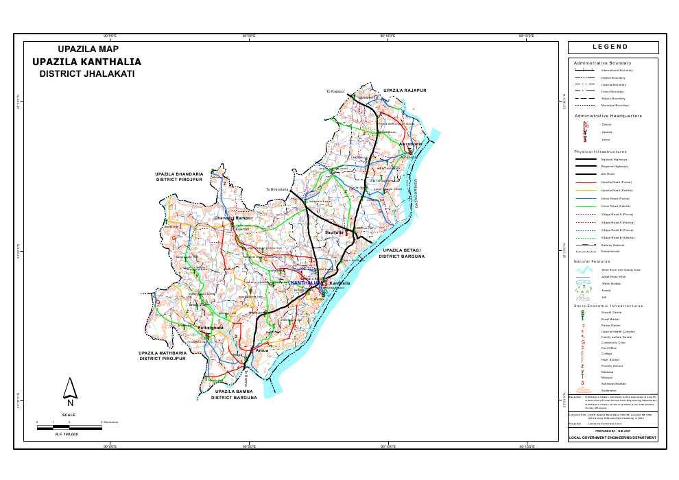 Kanthalia Upazila Map Jhalokathi District Bangladesh