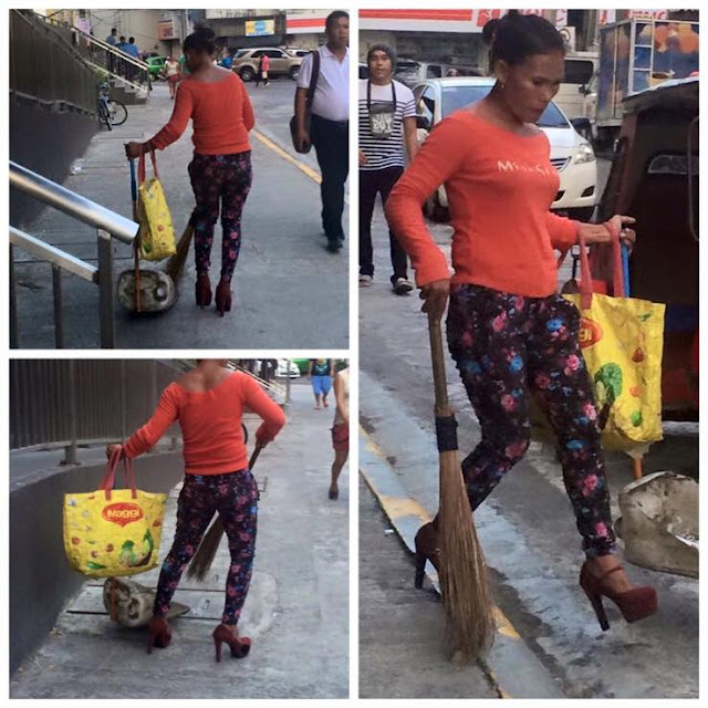 This Woman Went Viral Online After Rocking A 5-Inch Heel While Sweeping The Streets!