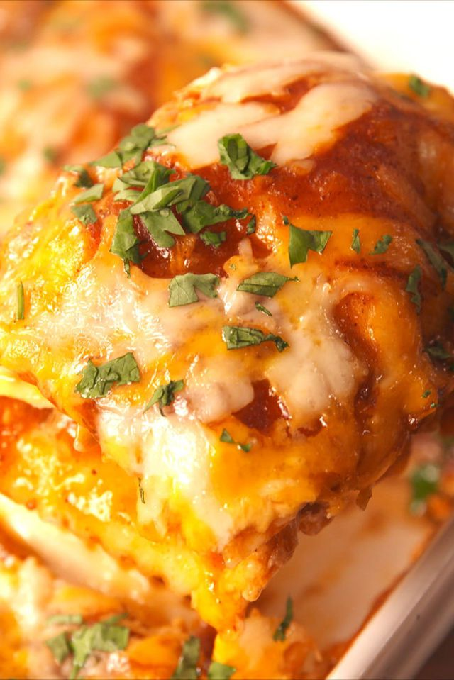 Chicken Enchilada Ravioli Bake