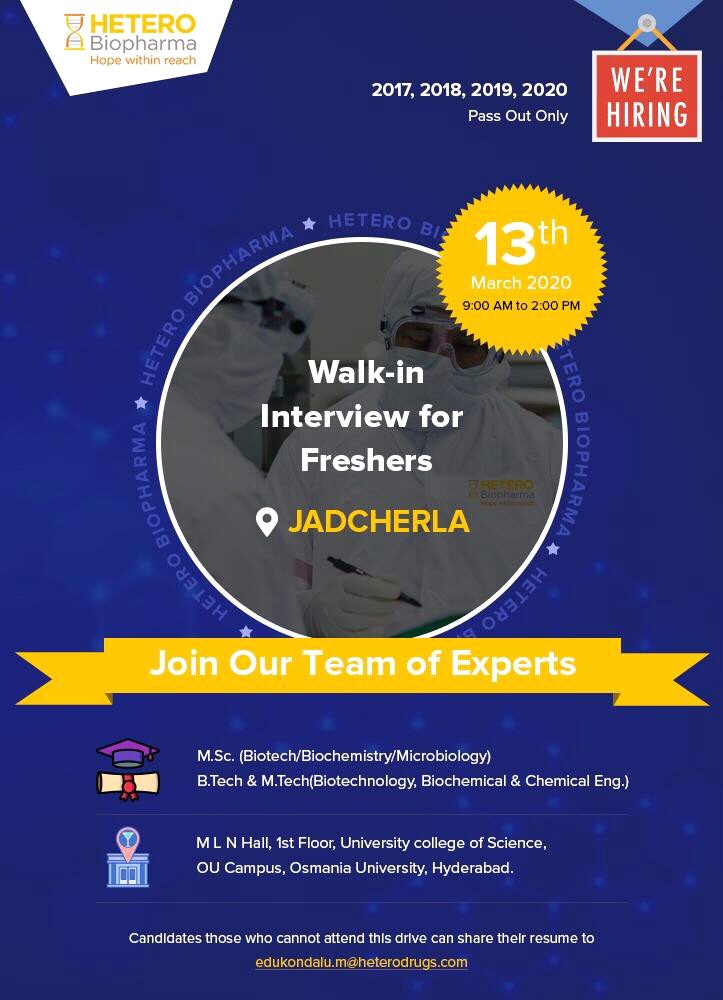 Hetero Biopharma - Walk in interview for Fresher on 13th March 2020