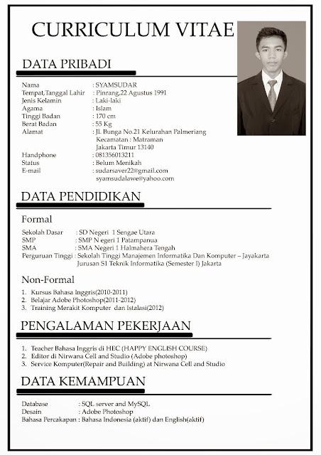 contoh cv mahasiswa menarik doc pdf