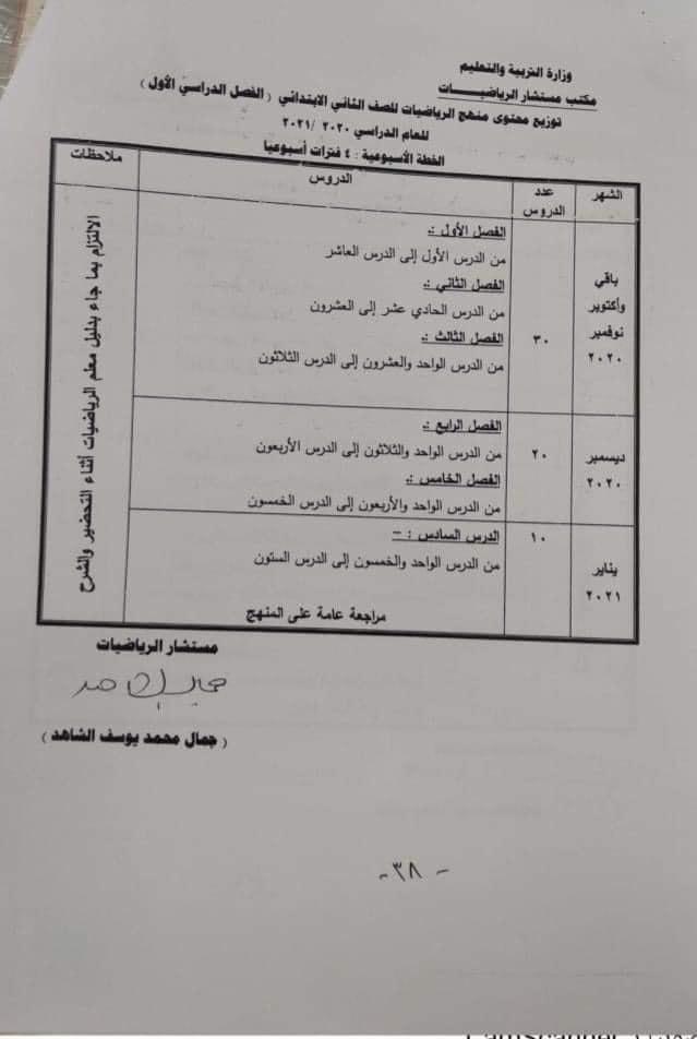 توزيع منهج الرياضيات للصف الثاني الإبتدائي الترم الاول والثاني 2021