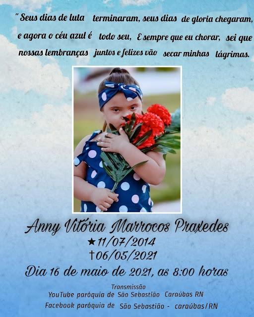Convite Missa de Celebração de 7 dias de saudades de Anny Vitória