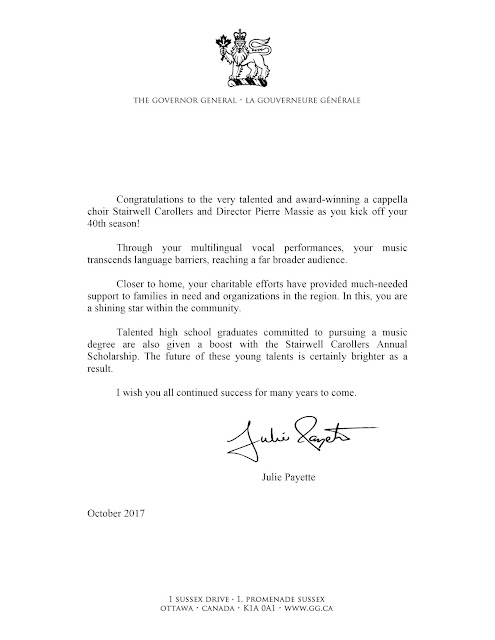 Governor General's congratulatory letter to the Stairwell Carollers (English)