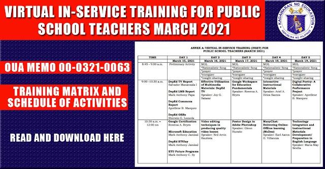 VIRTUAL IN-SERVICE TRAINING FOR PUBLIC SCHOOL TEACHERS (MARCH 2021)