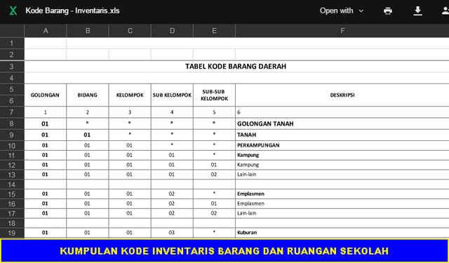 Download KUMPULAN KODE INVENTARIS BARANG DAN RUANGAN SEKOLAH