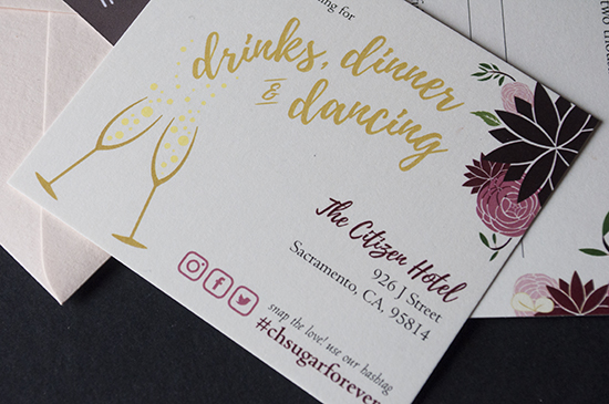 wedding invitations, sacramento wedding, reception card