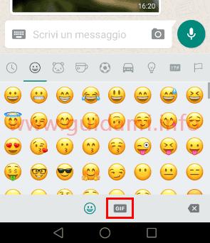 WhatsApp pulsante per aprire galleria GIF animate