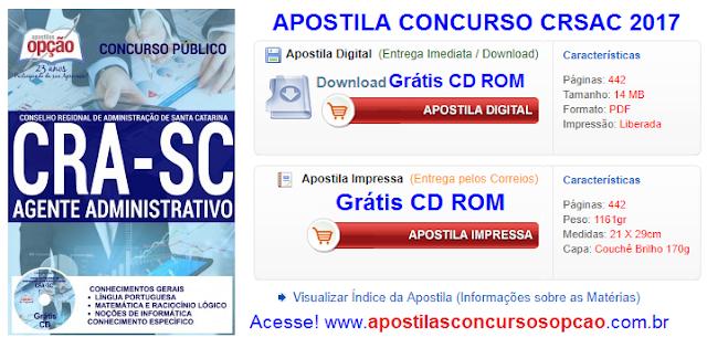 Apostila CRA/SC 2017 : concurso Conselho regional de Administração de Santa Catarina