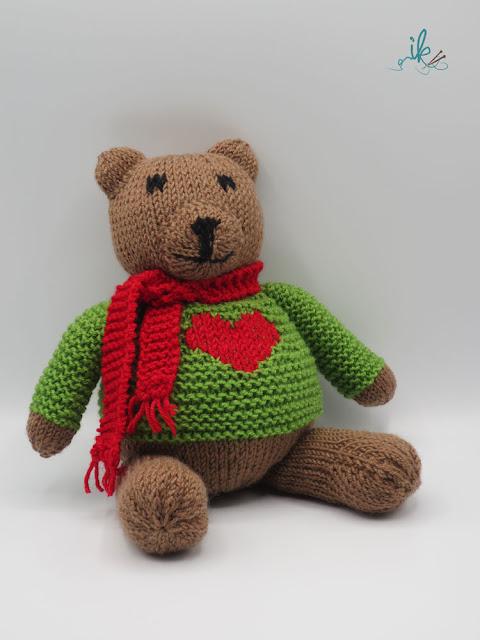 Strickanleitung Teddy mit Herz von Ines Kollwitz