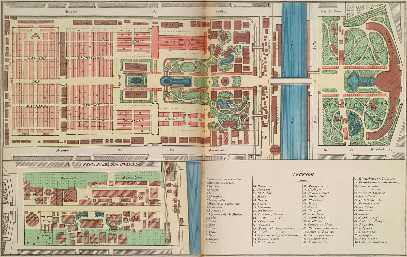 Map of the 1889 World Fair. The top image represents the Champ-de-Mars, from the Trocadéro Palace to the Galerie des machines (next to the École Militaire, which still exists today). The bottom print represents the Esplanade des Invalides, about half a mile from the Champ-de-Mars. This second site of the World Fair housed the Exposition coloniale as well as an agricultural fair.