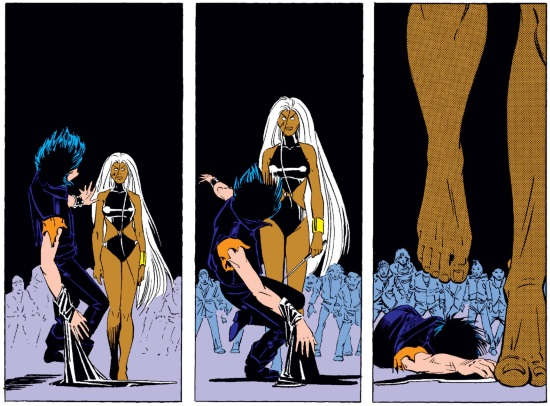 Three vertical panels of Storm battling Callisto, a dark-haired white woman with an eyepatch. In the first, Callisto begins to fall backward while Storm stares straight ahead. In the second, Storm takes a step towards the still-falling Callisto, a knife visible in her hand and her gaze still fixed straight ahead, seemingly unfeeling. In the third, Callisto is on the ground and Storm's feet and lower legs fill most of the frame, indicating she's walked away from Callisto's body without a second thought.
