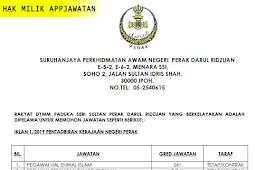Jawatan Kosong di Suruhanjaya Perkhidmatan Awam Negeri Perak – 17 April 2019