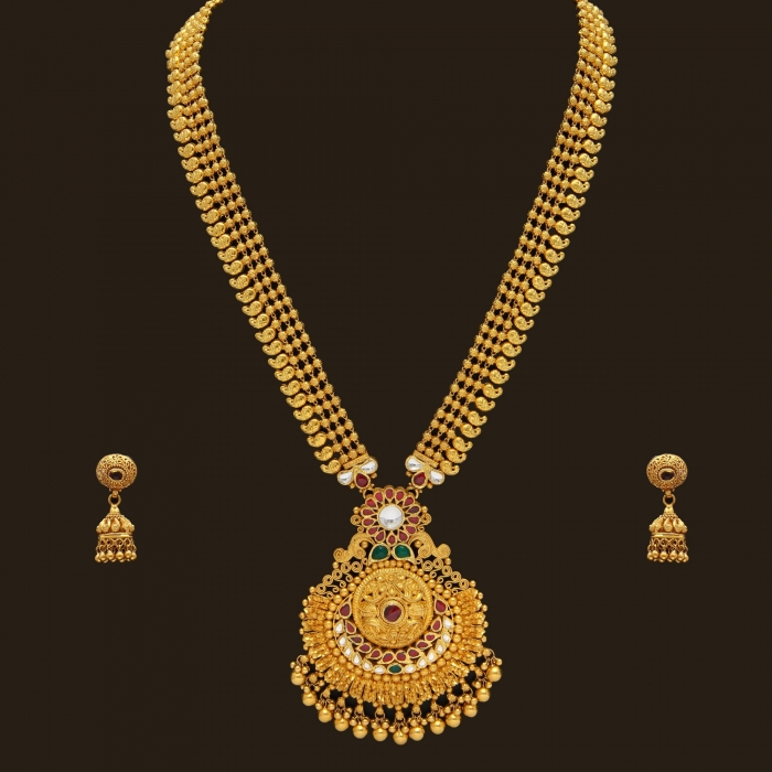 Beautiful South Indian Double Long Necklace Set: South Indian Bridal Jewellery