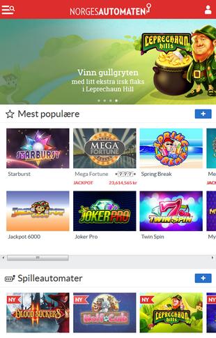 Norgesautomaten Casino Games Screen