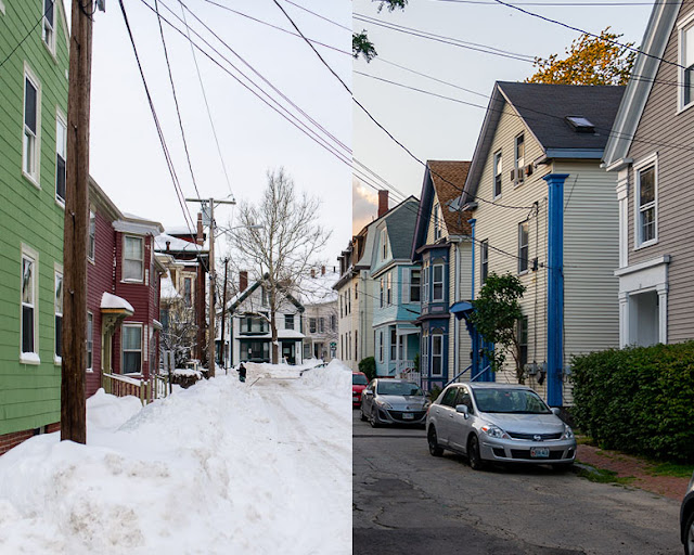 A Summer/Winter combination of May Street in the West End. Winter photo from January 2015 and summer photo from August 2020.  By Corey Templeton.