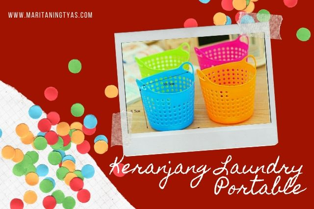 keranjang laundry portable warna-warni