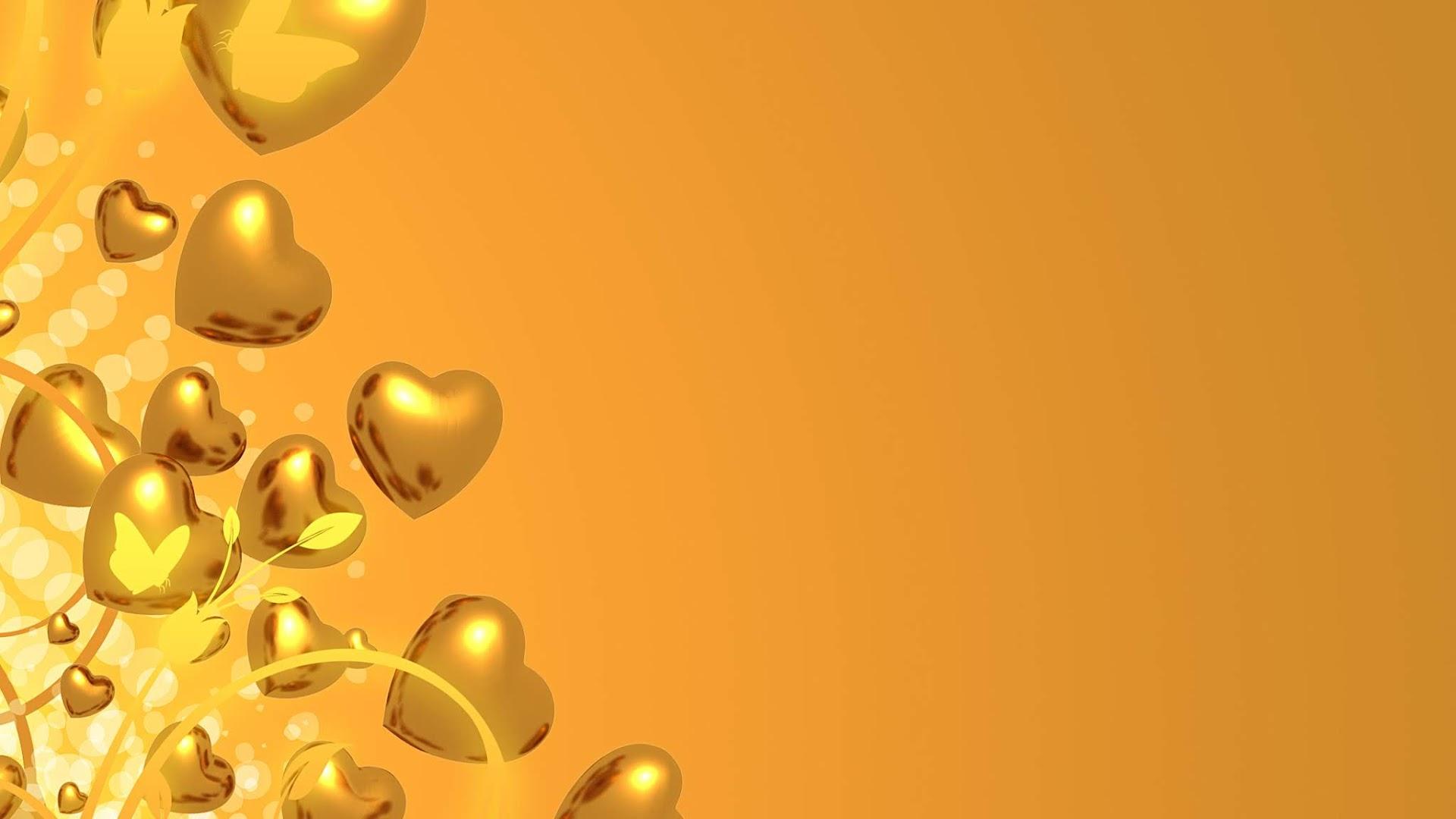 Golden Hearts - Free valentine HD Background