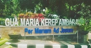 Foto tugu depan Gua Maria Kerep Ambarawa