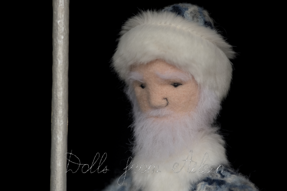 OOAK needle felted Father Frost doll's face