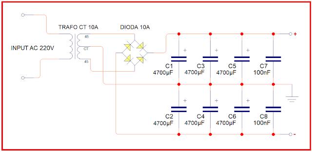 Power supply untuk amplifier OCL