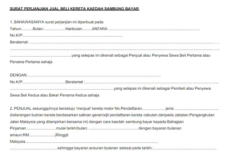 Contoh Surat Perjanjian Sambung Bayar Kenderaan Masih Ada Loan Dengan Bank