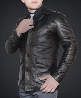 blazer kulit pria murah