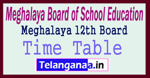 MBOSE 12th Time Table