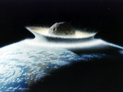 An artist's concept of a catastrophic asteroid impact with the Earth