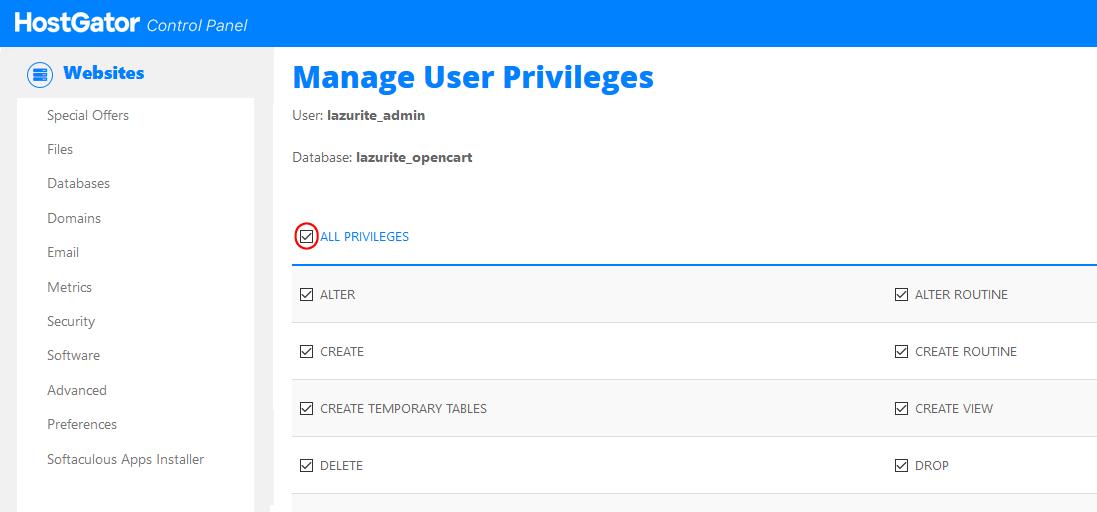 منح الصلاحيات لمستخدم قاعدة البيانات MySQL