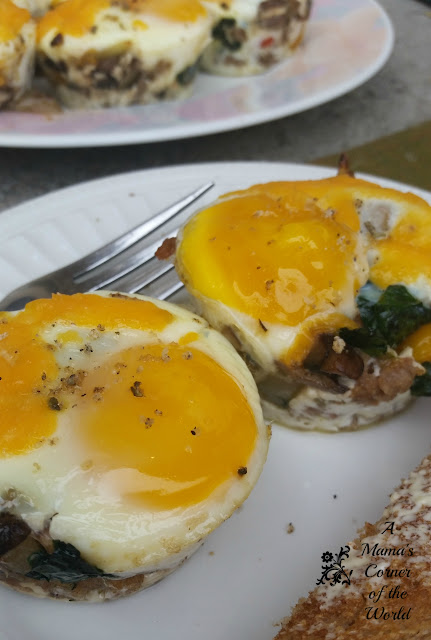 sausage spinach and mushroom baked egg cups with toast
