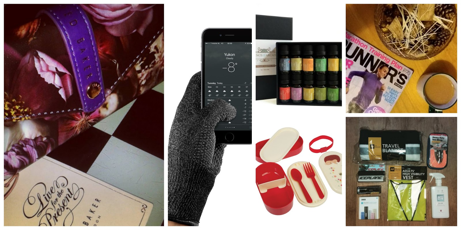 christmas, gift guide, unusual gifts, ted baker, touchscreen gloves, aromatherapy, bento box, magazine, car care kit