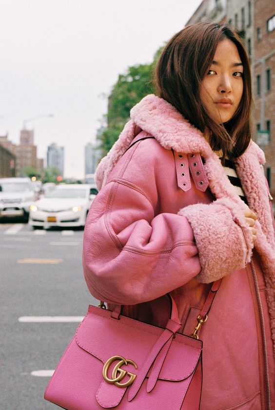 Pink Shearling Aviator Jacket + Pink Gucci bag