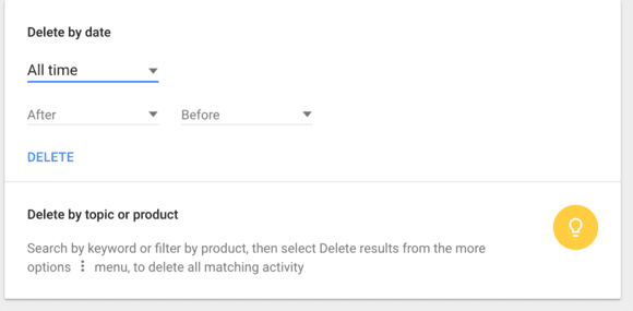 Delete google activities