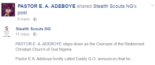 Pastor Adeboye Steps Down As General Overseer For RCCG NIGERIA, Appoints New G.O
