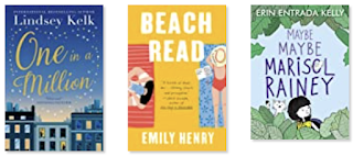 Three book covers. The first is One in a Million. There are several buildings with a lot of evening sky behind them. The second is Beach Read and shows a man and woman on beach towels and they are not facing each other. The third is Maybe Maybe Marisol Rainey and it shows a girl with dark hair among leaves along with a cat.