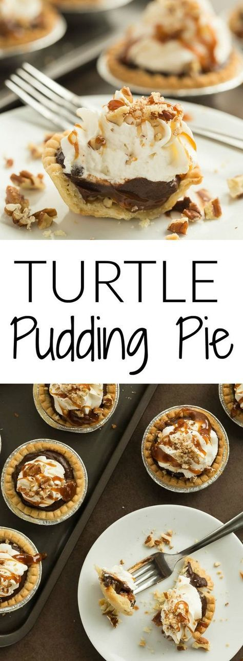 MINI TURTLE PUDDING PIES - Holiday Recipes