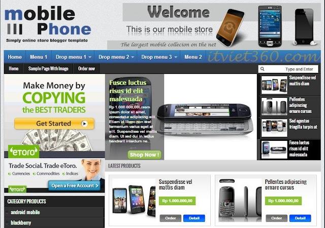Template Shop bán hàng Online cho Blogspot - Blogger đẹp