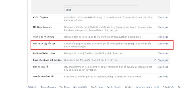 Chọn Liên hệ tin cậy Facebook