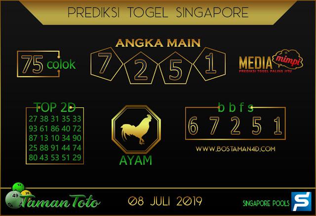 Prediksi Togel SINGAPORE TAMAN TOTO 08 JULI 2019
