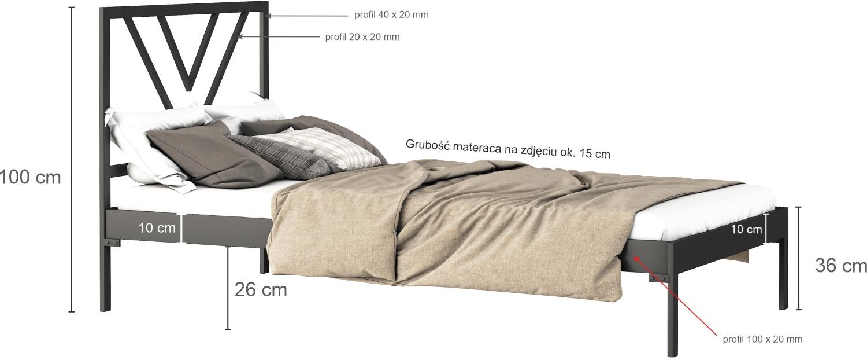 Łóżko metalowe Kolorado (wzór 38) (80-100 cm)