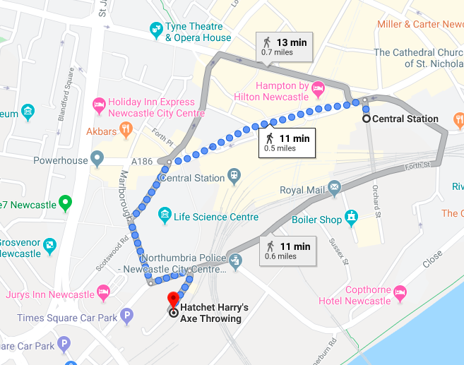 Indoor Axe Throwing in Newcastle at Hatchet Harry's  (Review) - map from central station