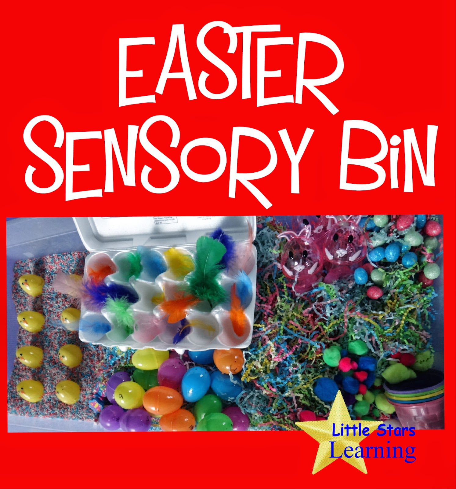 Easter sensory bin with learning activities