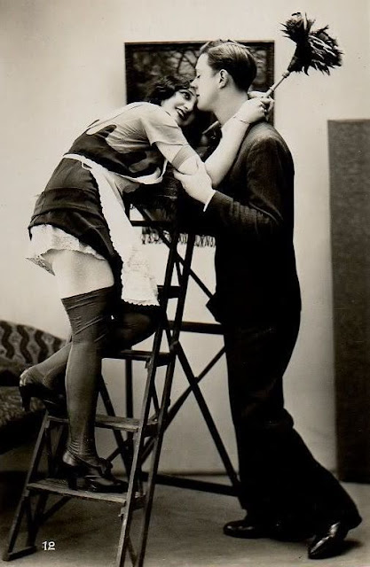 Jacques Biederer scena erotyczna sprzatająca pani na drabinie flirtuje z panem