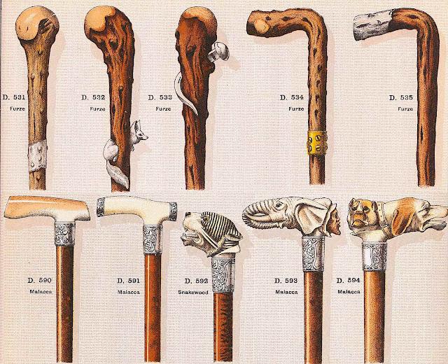 strange old walking canes, a color illustration
