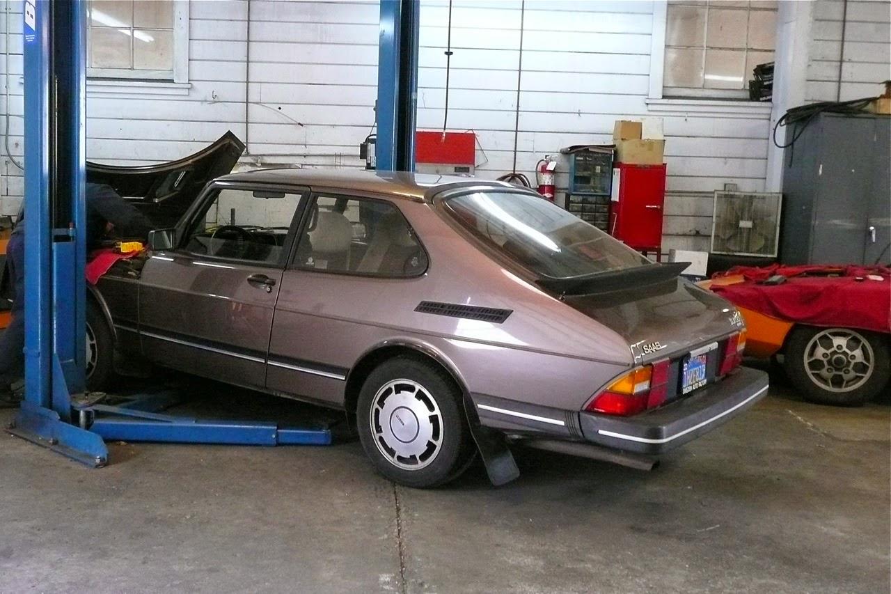 Scenes in a classic Saab shop, Pirelli P-Slot