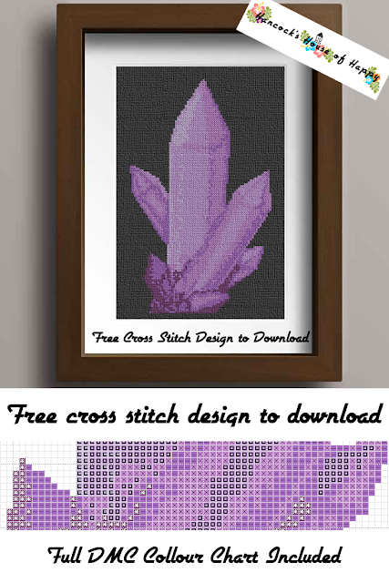 Today's free crystal shard cross stitch pattern fits rather loosely into the magic cross stitch pattern theme but I have always associated crystals with all things magic and mystical. In so many stories crystals have power or contain spirits and also they are oh so shiny and pretty! This amethyst cross stitch pattern has lots of very subtle shading but is also basically all in one colour so if purple doesn't suit you it is very easy to change this to a crystal cross stitch colour of your choice. All tones of blue would be pretty! There were two versions of this crystal cross stitch to begin with and I put it to a vote on the facebook page and y'all wanted this one!