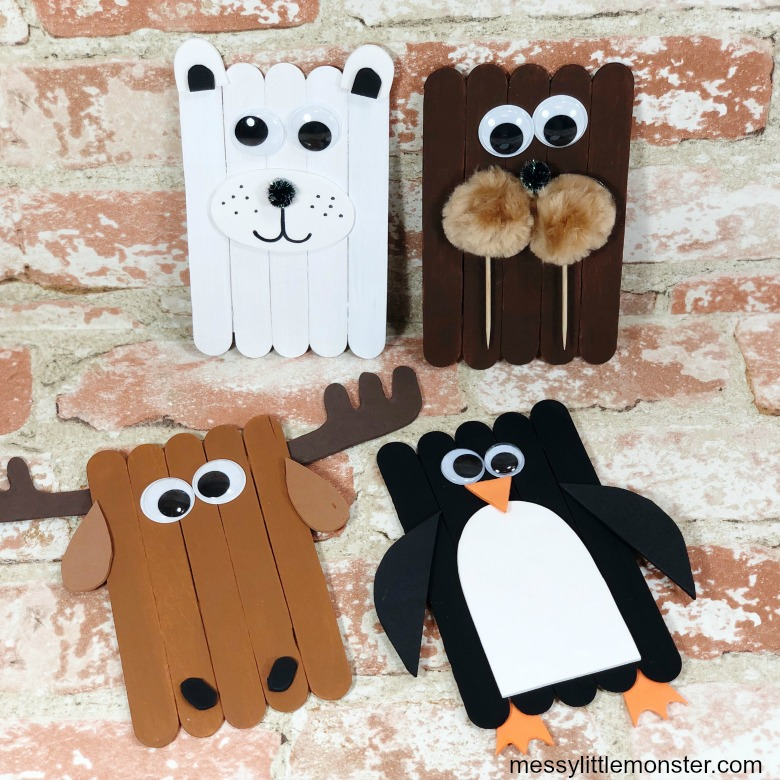 arctic animal popsicle stick crafts for kids