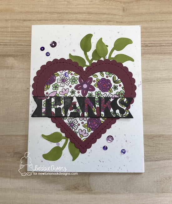 Thanks by Debbie features Heartfelt Blooms, Essential Alphabet, Frames & Flags, Heart Frames, Flower Trio by Newton's Nook Designs; #inkypaws, #newtonsnook, #cardmaking