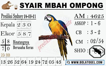 Syair Mbah Ompong Sdy Jumat 24-09-2021